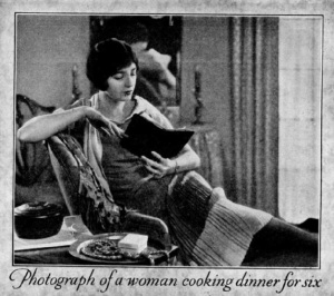 Photograph of a woman cooking dinner for six